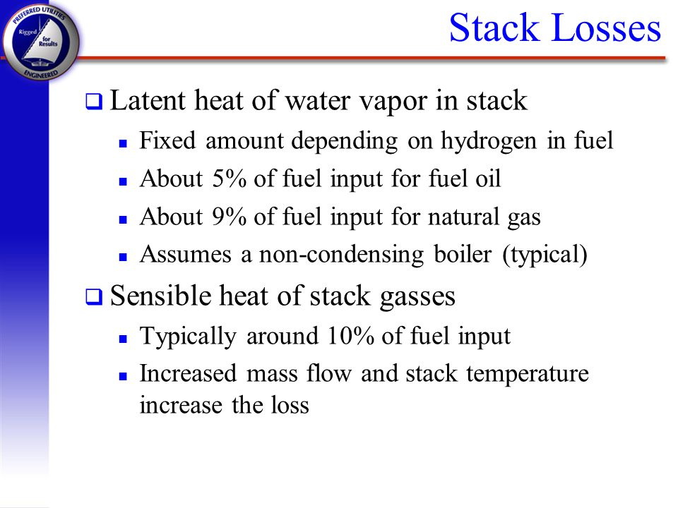 Stack Losses Latent heat of water vapor in stack