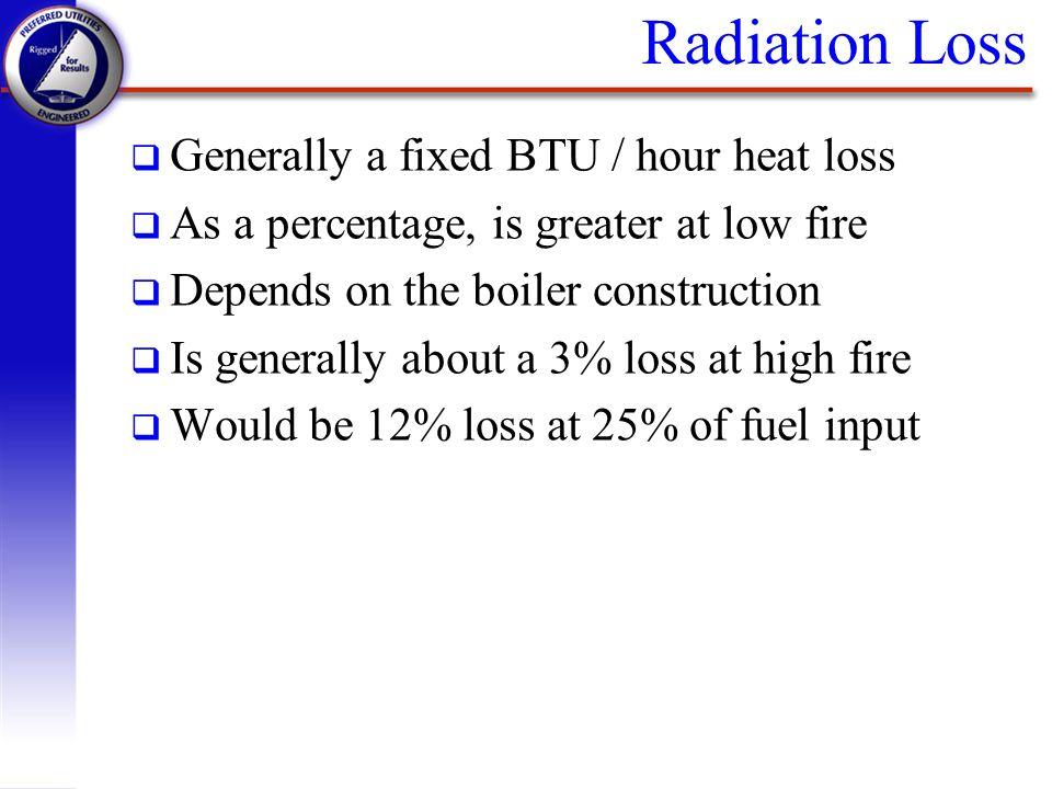 Radiation Loss Generally a fixed BTU / hour heat loss