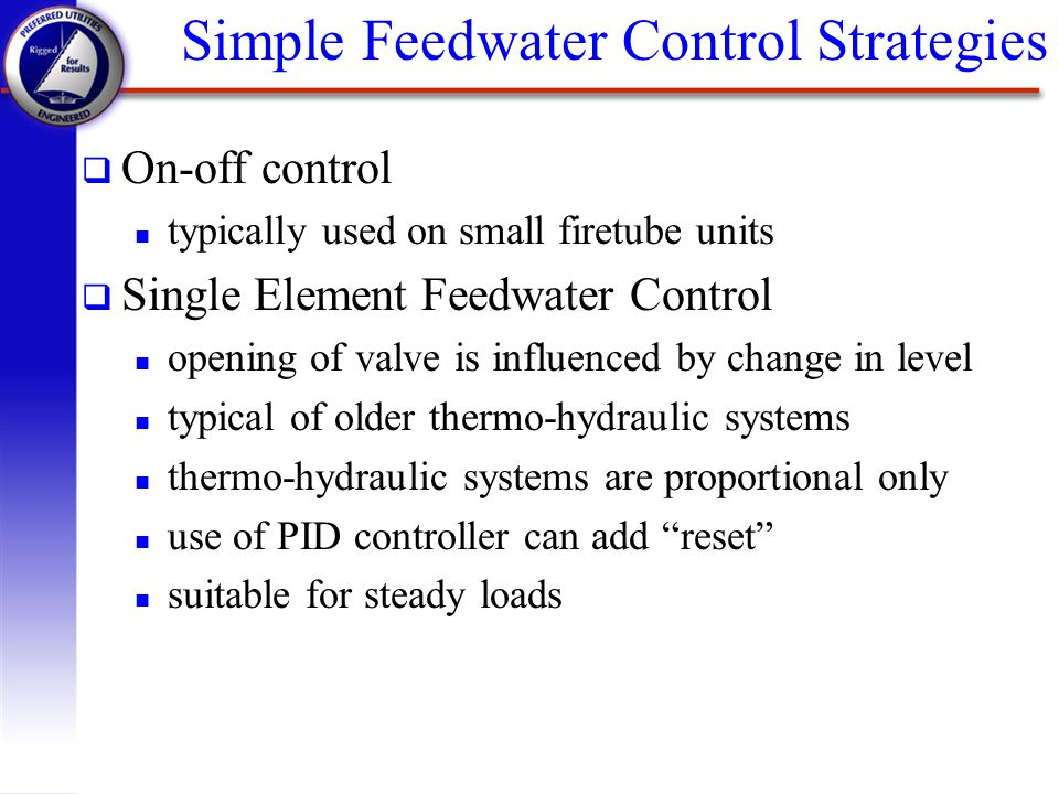 Simple Feedwater Control Strategies
