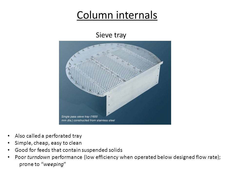 Column internals Sieve tray Also called a perforated tray
