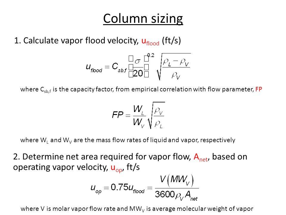 Column sizing 1. Calculate vapor flood velocity, uflood (ft/s)