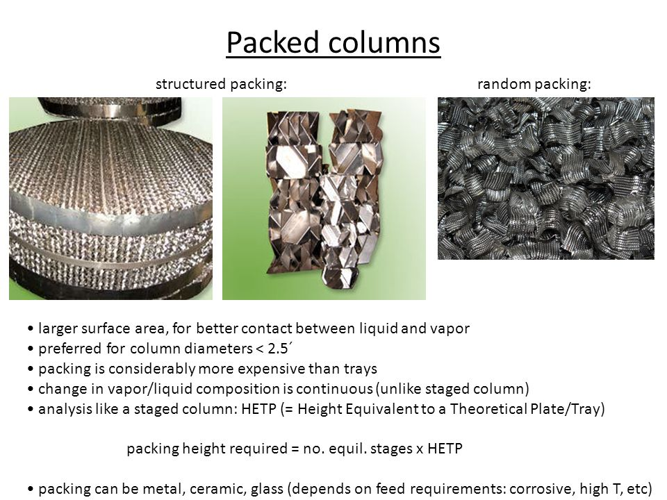 Packed columns structured packing: random packing:
