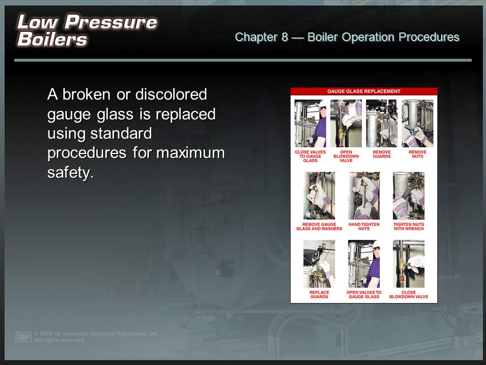 A broken or discolored gauge glass is replaced using standard procedures for maximum safety.