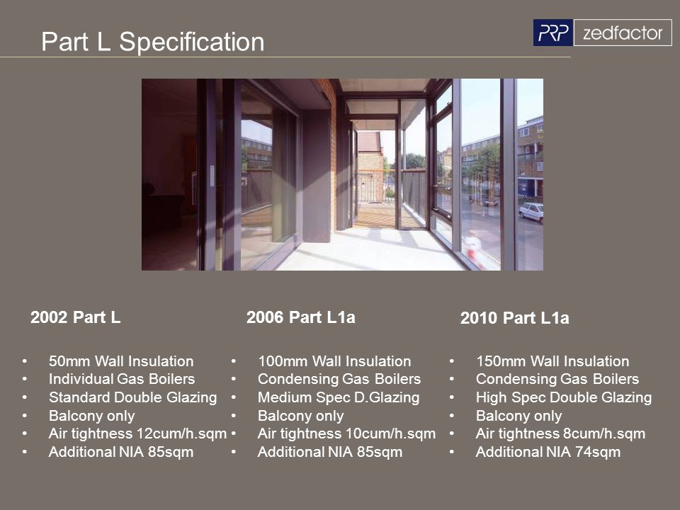 Part L Specification 2002 Part L 2006 Part L1a 2010 Part L1a
