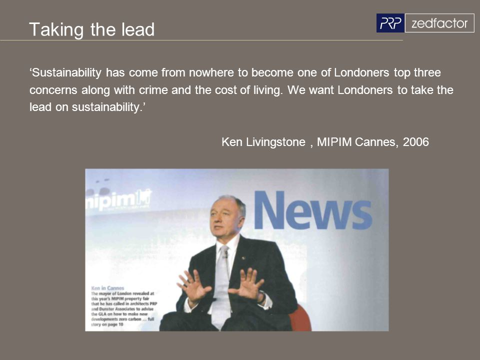 Taking the lead 'Sustainability has come from nowhere to become one of Londoners top three.
