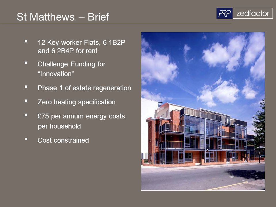 St Matthews – Brief 12 Key-worker Flats, 6 1B2P and 6 2B4P for rent