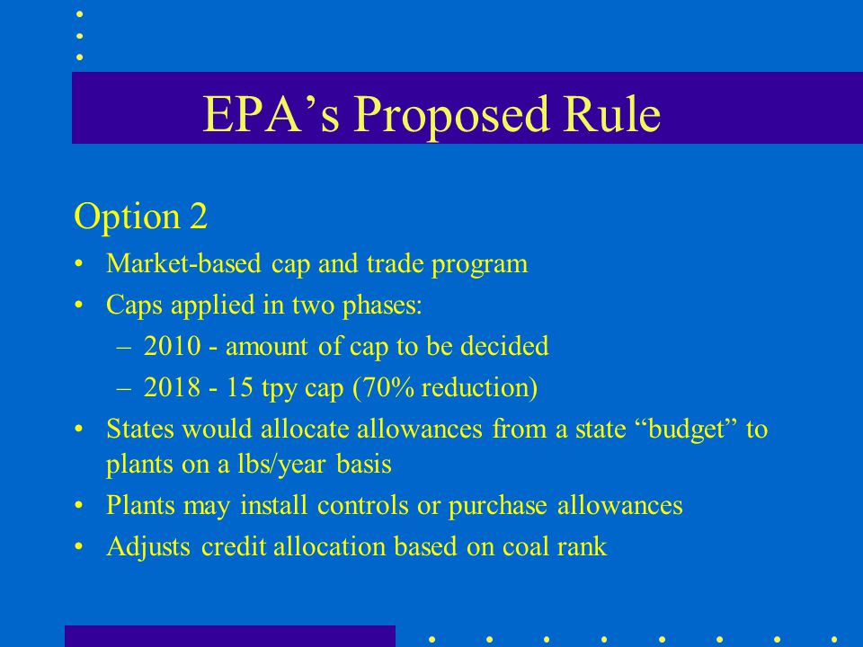EPA's Proposed Rule Option 2 Market-based cap and trade program