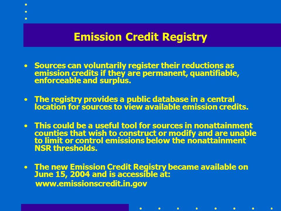 Emission Credit Registry