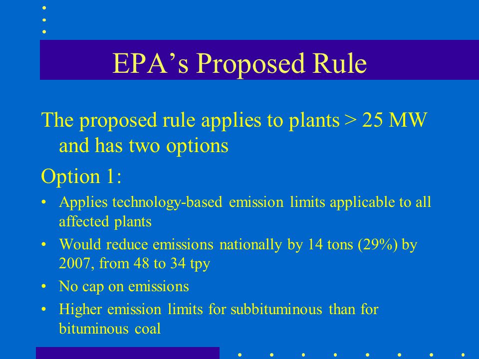 EPA's Proposed Rule The proposed rule applies to plants > 25 MW and has two options. Option 1: