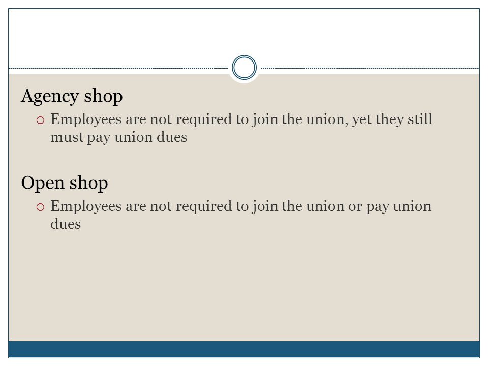 Agency shop Employees are not required to join the union, yet they still must pay union dues. Open shop.