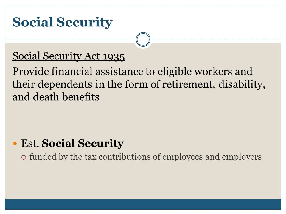 Social Security Social Security Act 1935