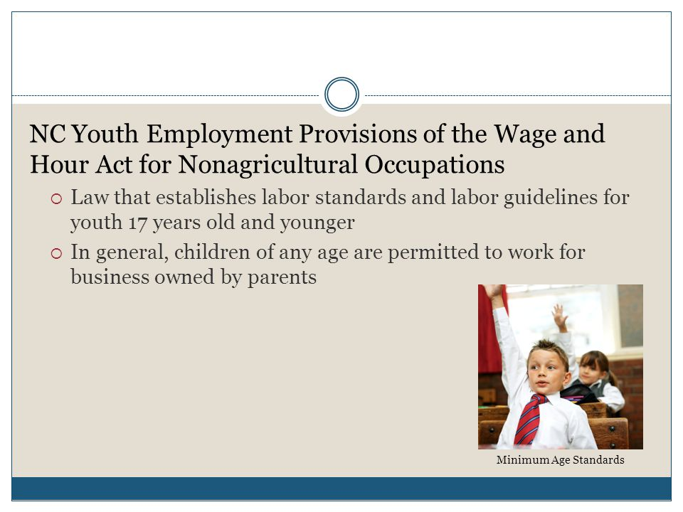 NC Youth Employment Provisions of the Wage and Hour Act for Nonagricultural Occupations