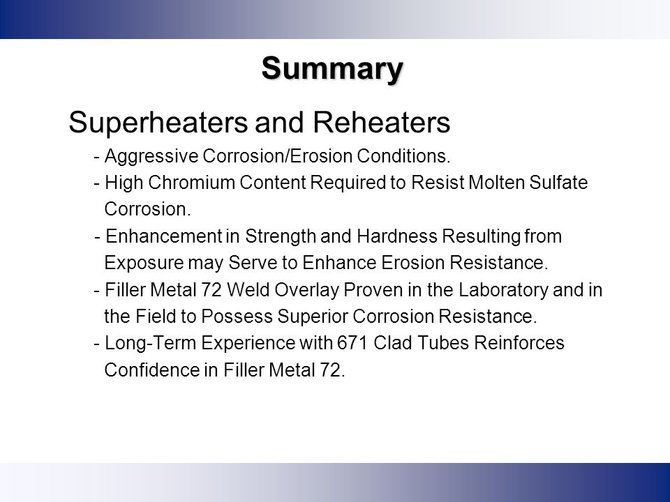 Summary Superheaters and Reheaters