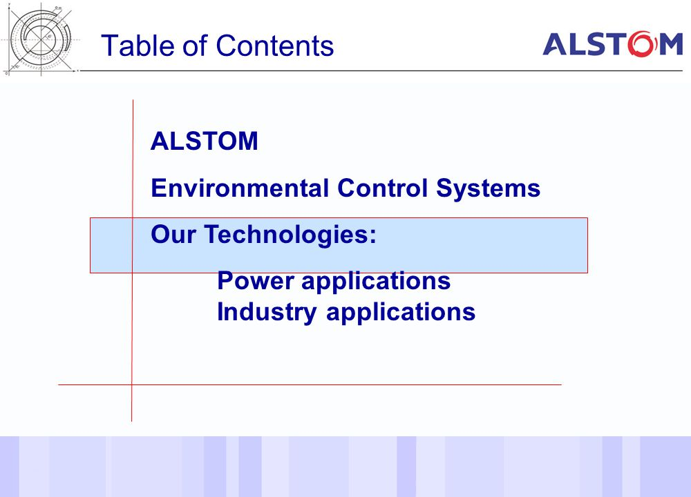Table of Contents ALSTOM Environmental Control Systems