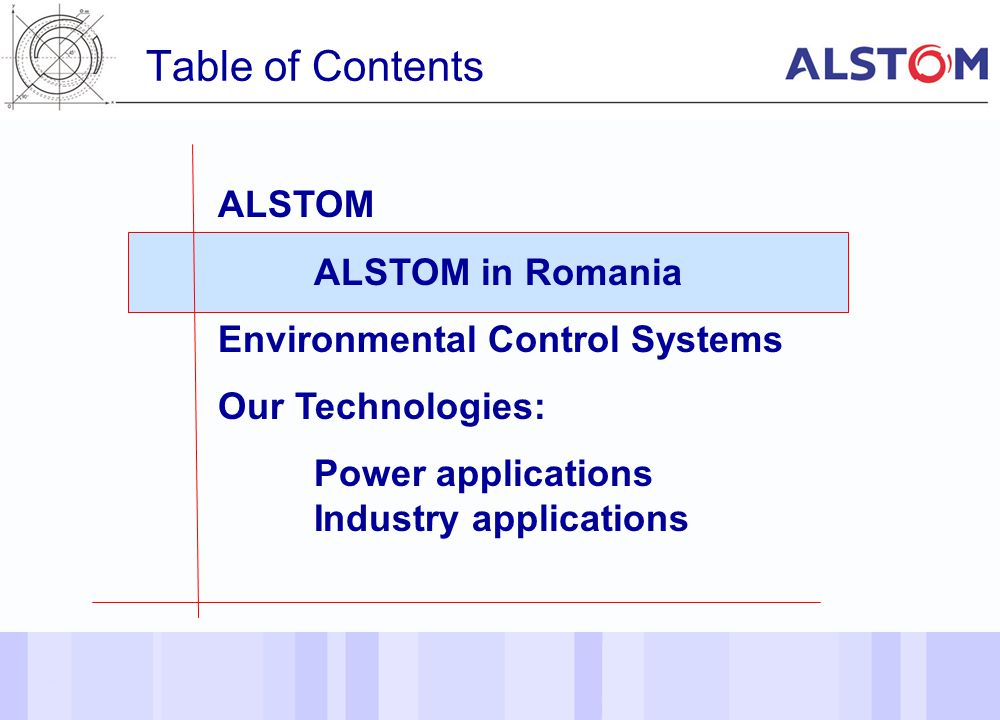 Table of Contents ALSTOM ALSTOM in Romania