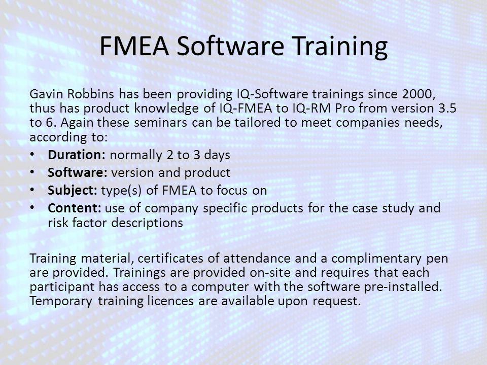 FMEA Software Training