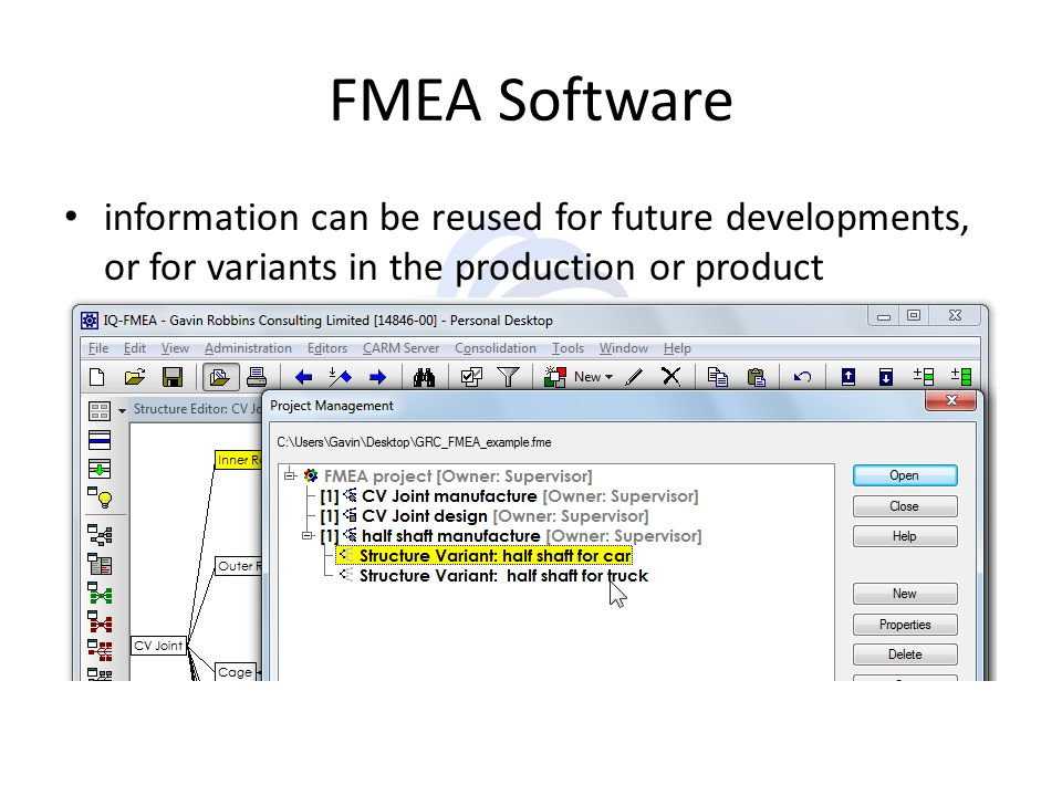 FMEA Software information can be reused for future developments, or for variants in the production or product.