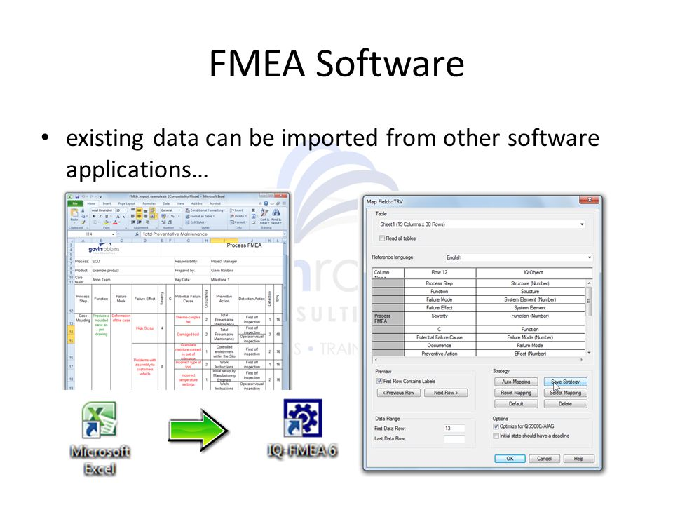 FMEA Software existing data can be imported from other software applications…