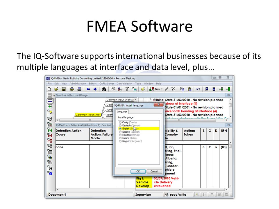 FMEA Software The IQ-Software supports international businesses because of its multiple languages at interface and data level, plus…