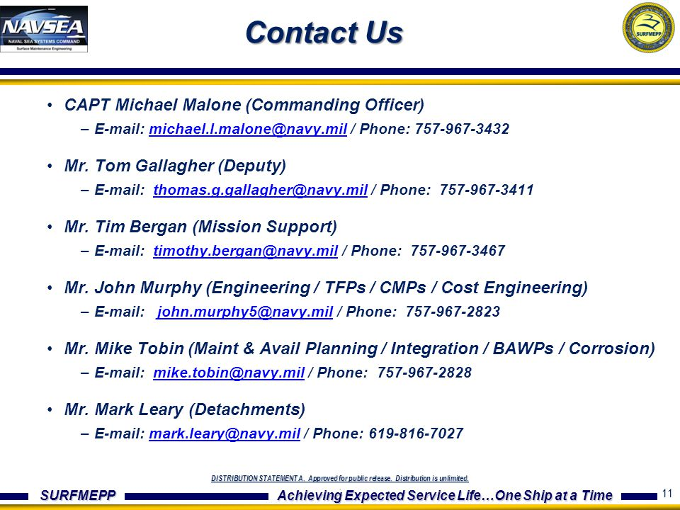 Contact Us CAPT Michael Malone (Commanding Officer)