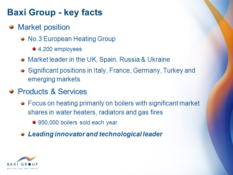 Baxi Group - key facts Market position Products & Services