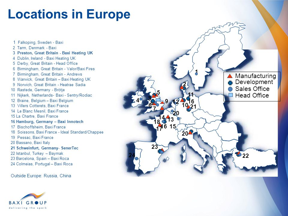 Locations in Europe Manufacturing Development Sales Office Head Office
