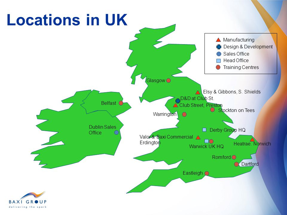 Locations in UK Manufacturing Design & Development Sales Office