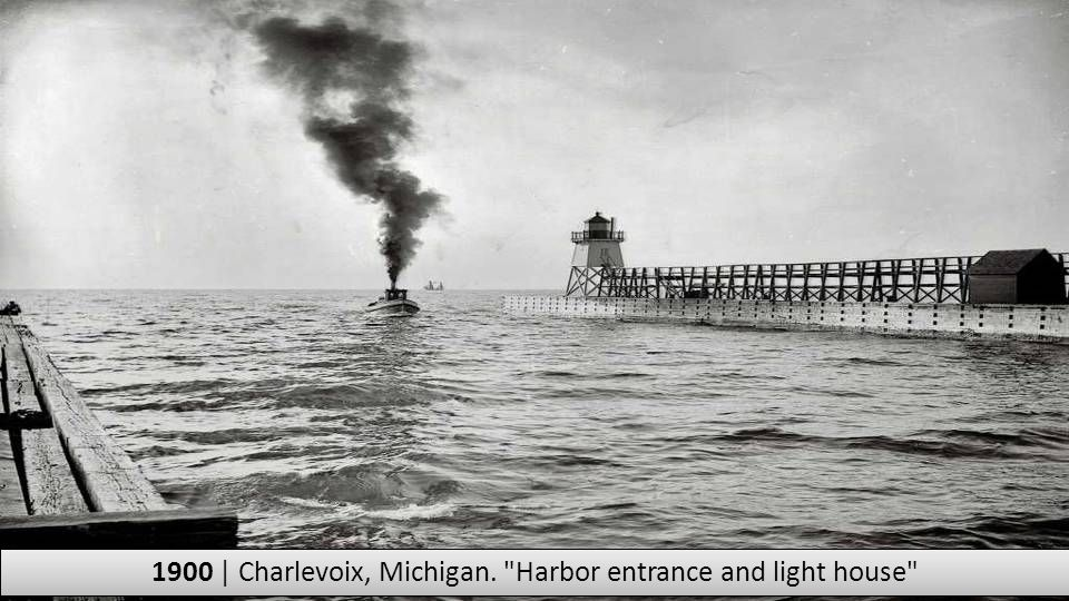 1900 | Charlevoix, Michigan. Harbor entrance and light house