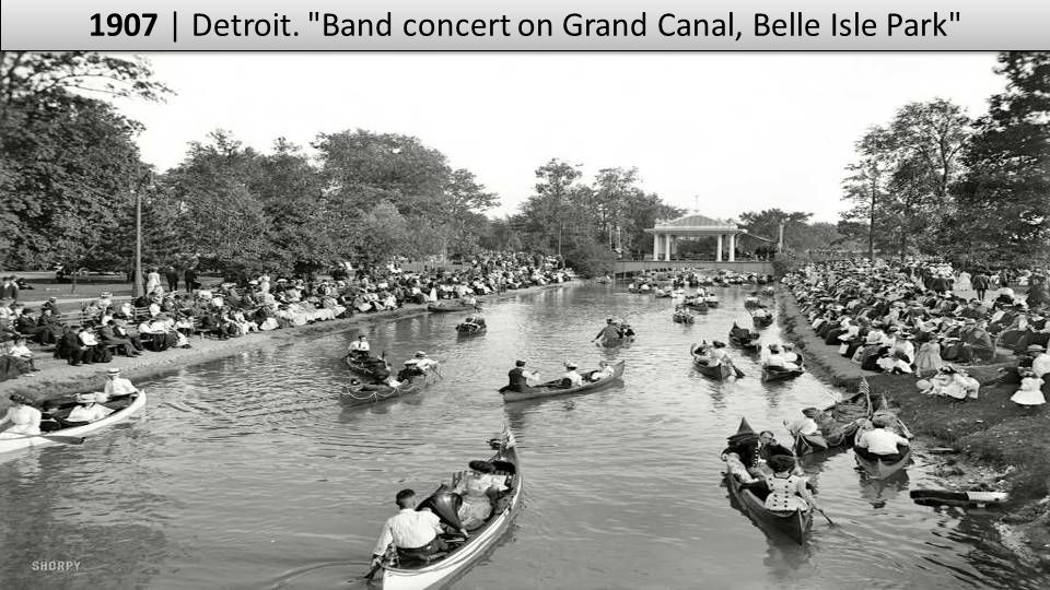 1907 | Detroit. Band concert on Grand Canal, Belle Isle Park
