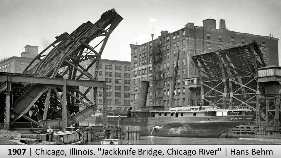 1907 | Chicago, Illinois. Jackknife Bridge, Chicago River | Hans Behm