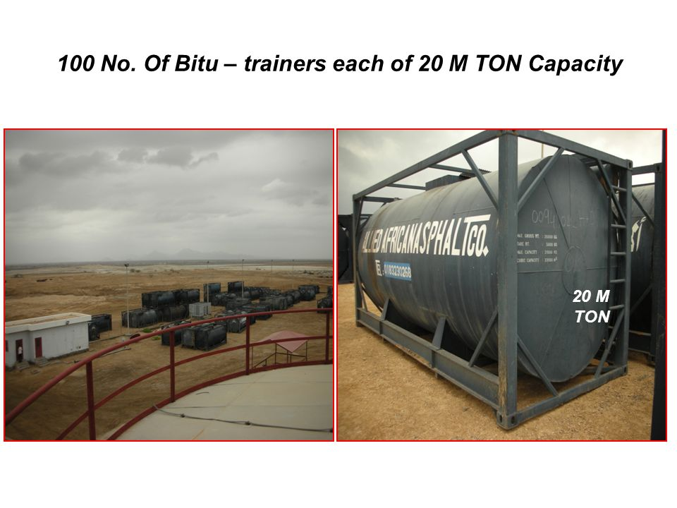 100 No. Of Bitu – trainers each of 20 M TON Capacity