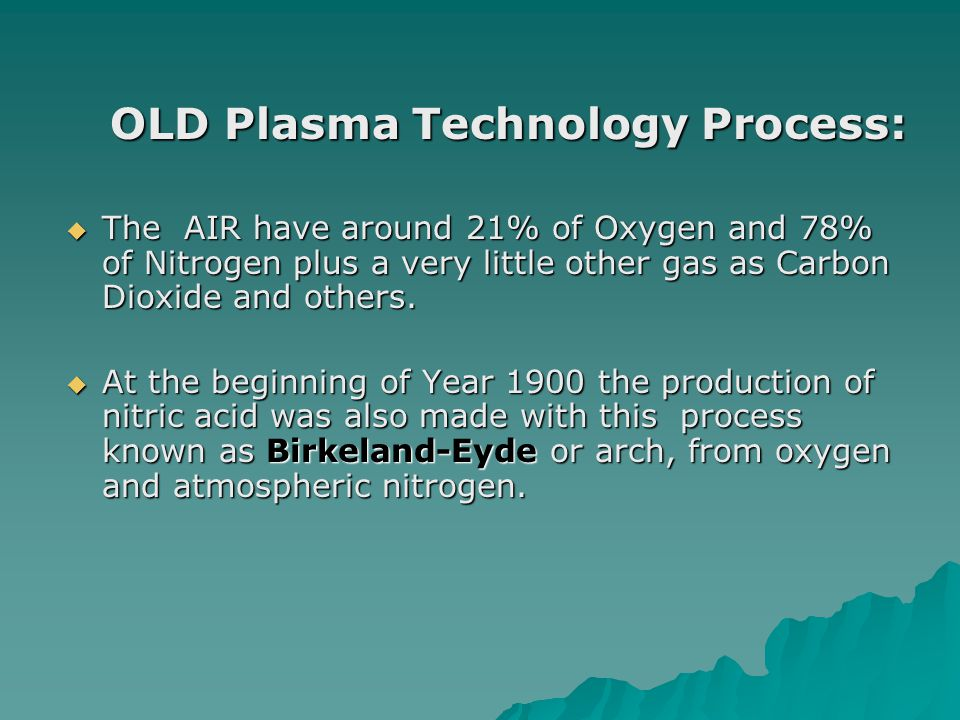 OLD Plasma Technology Process: