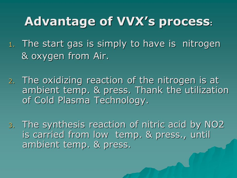 Advantage of VVX's process: