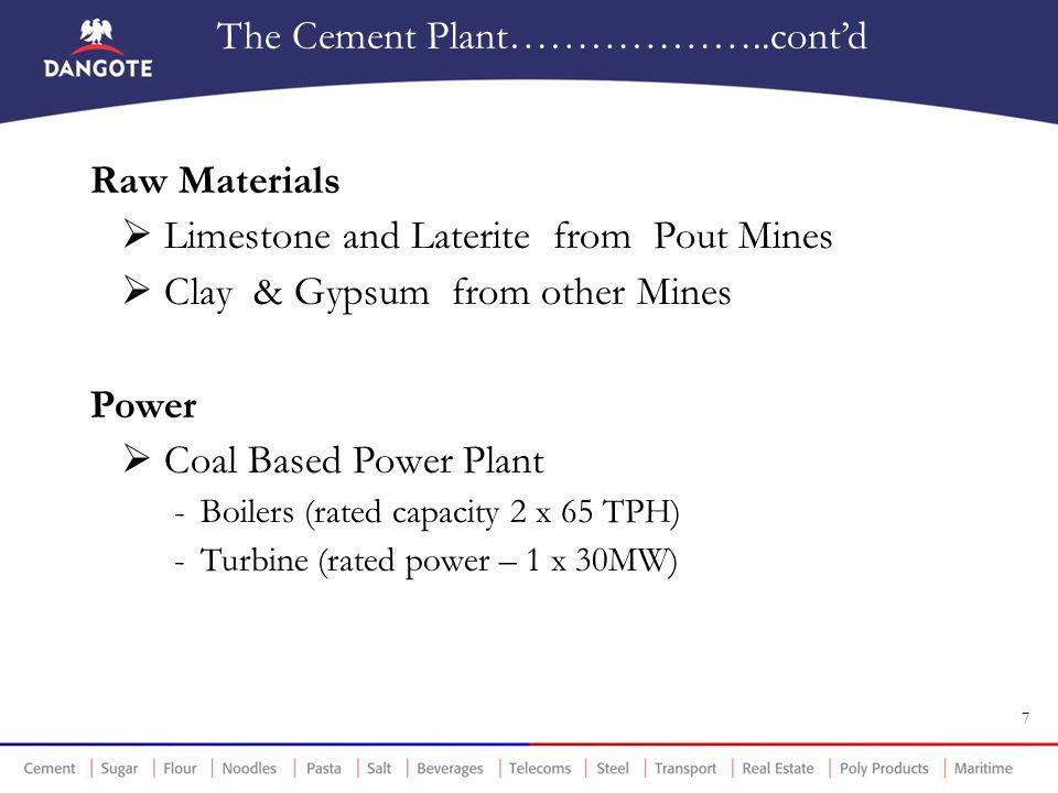 The Cement Plant………………..cont'd