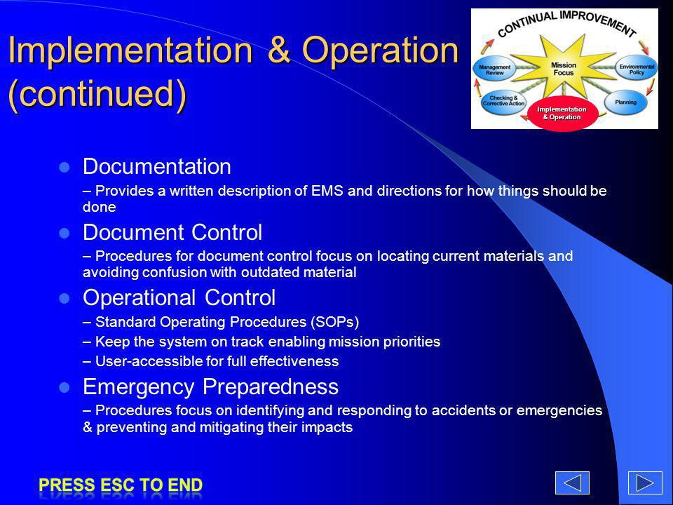 Implementation & Operation (continued)