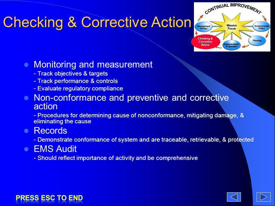 Checking & Corrective Action