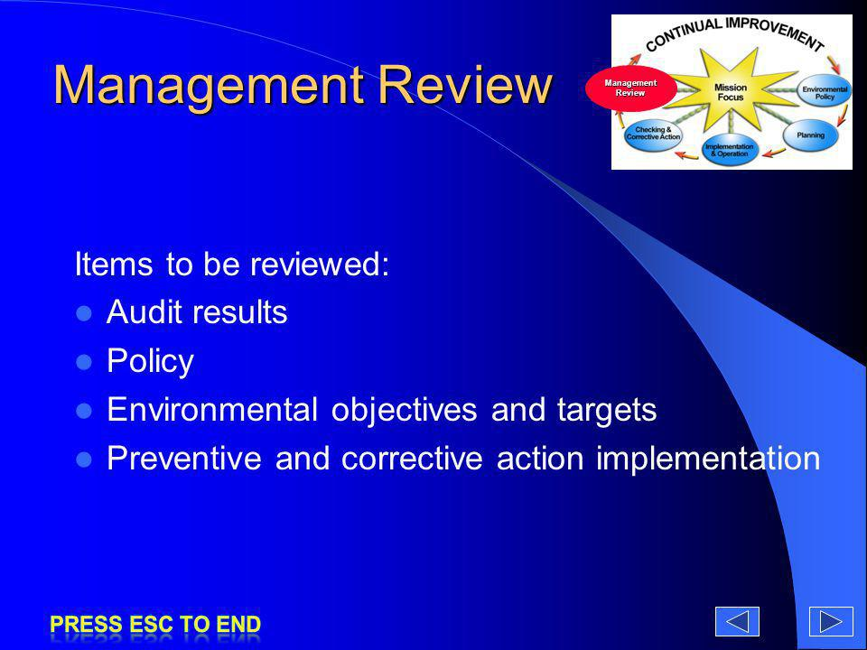 Management Review Items to be reviewed: Audit results Policy