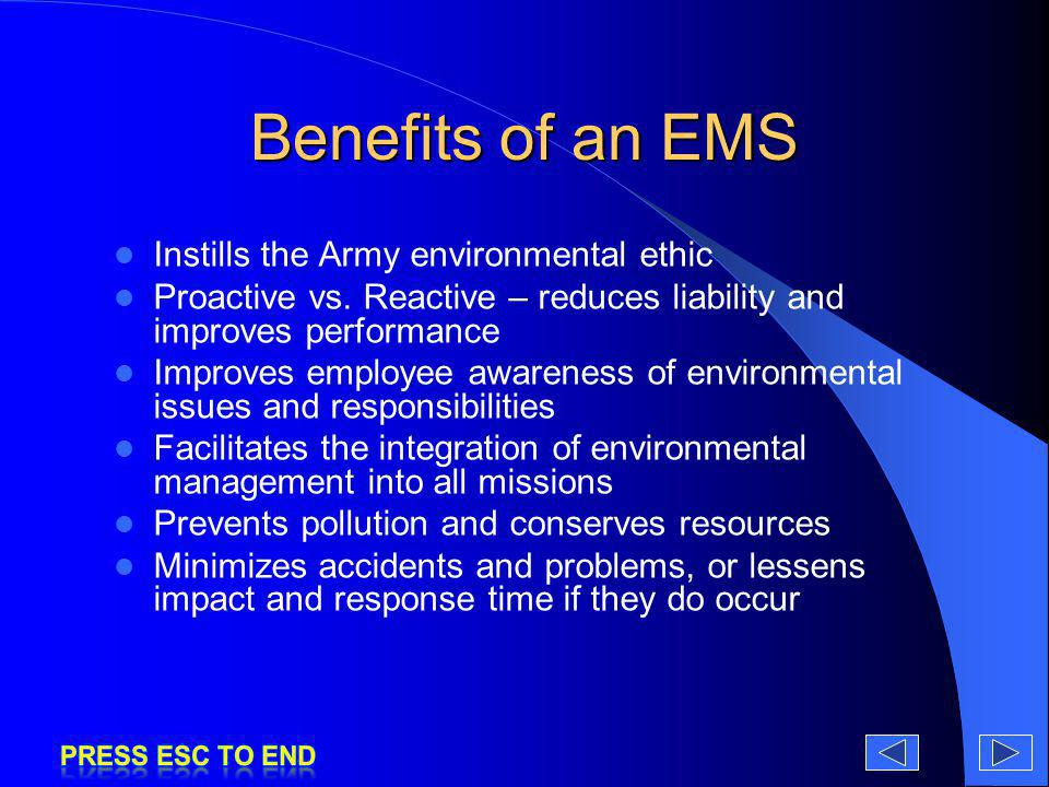 Benefits of an EMS Instills the Army environmental ethic