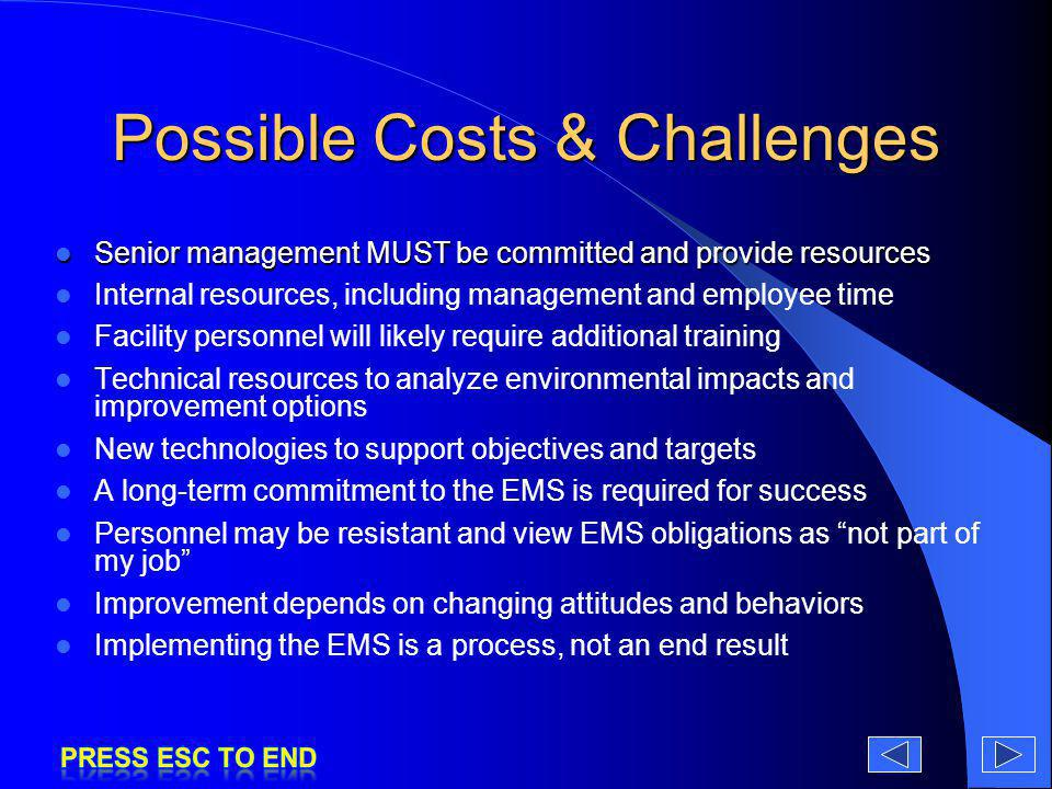 Possible Costs & Challenges