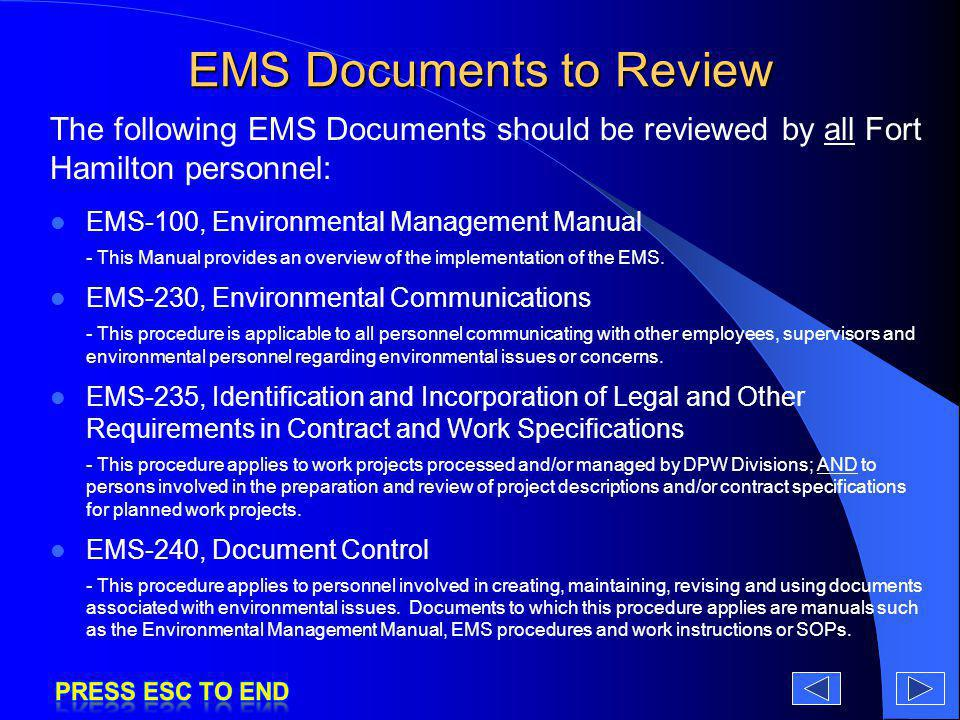 EMS Documents to Review