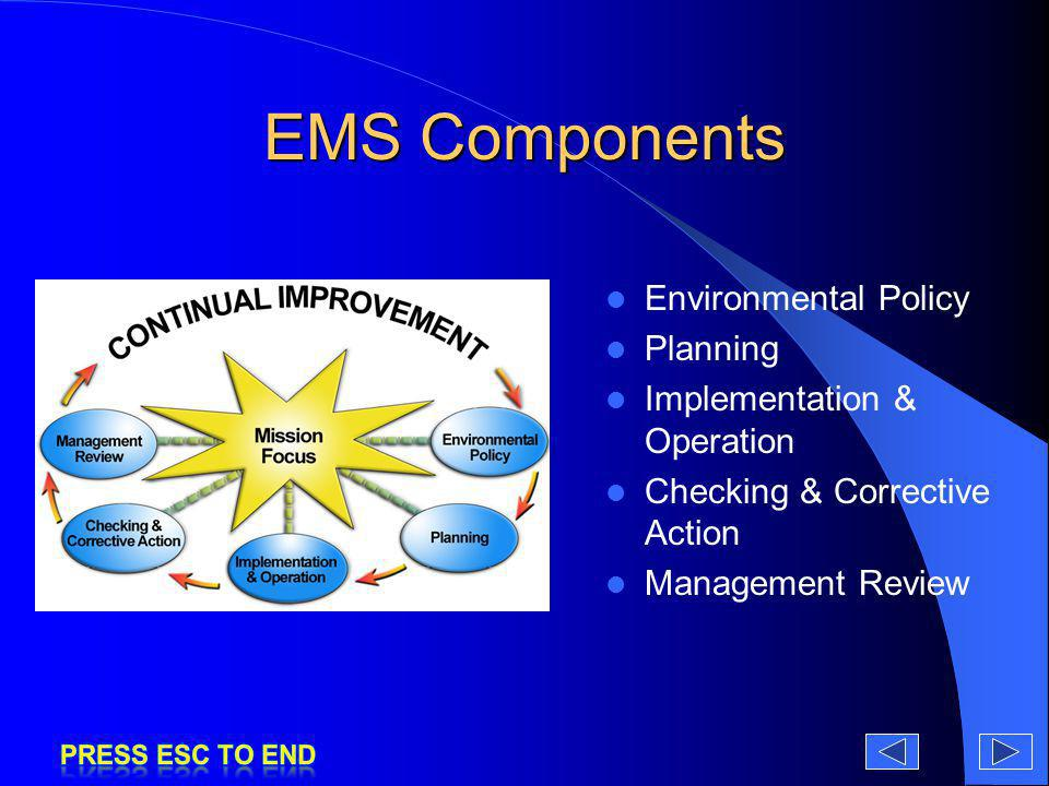 EMS Components Environmental Policy Planning