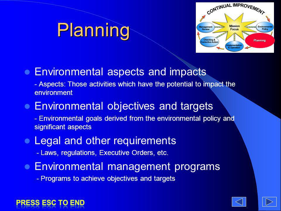 Planning Environmental aspects and impacts