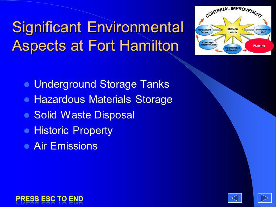 Significant Environmental Aspects at Fort Hamilton