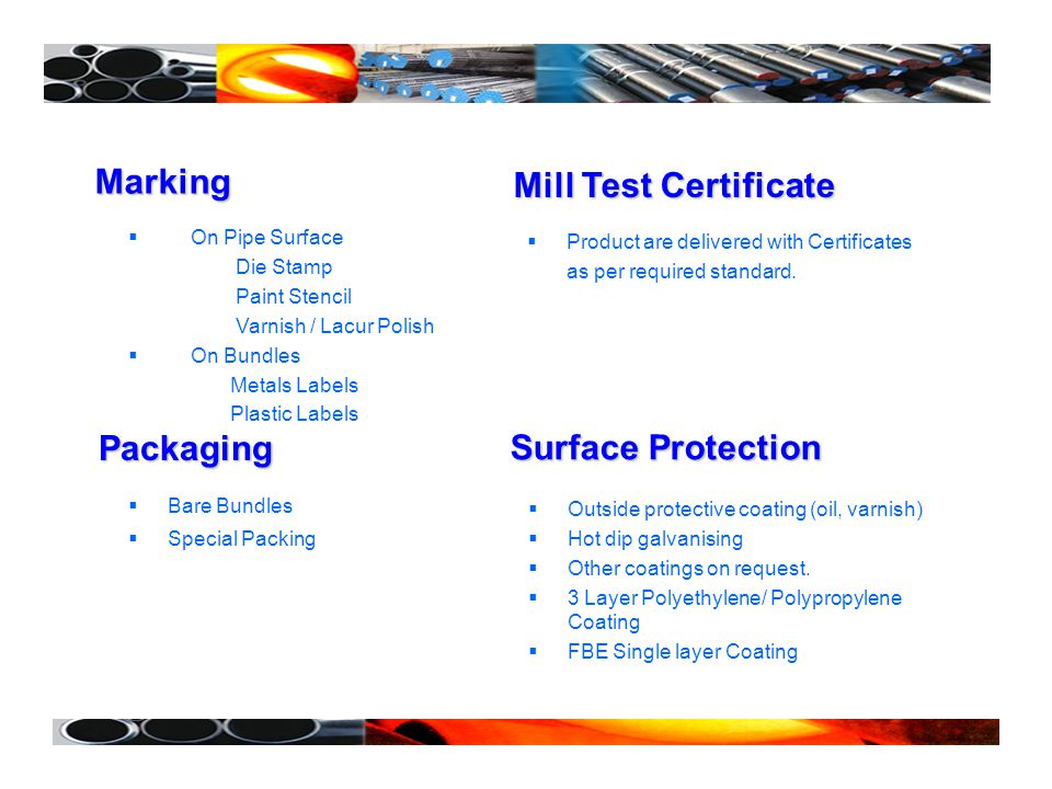 Mill Test Certificate Surface Protection