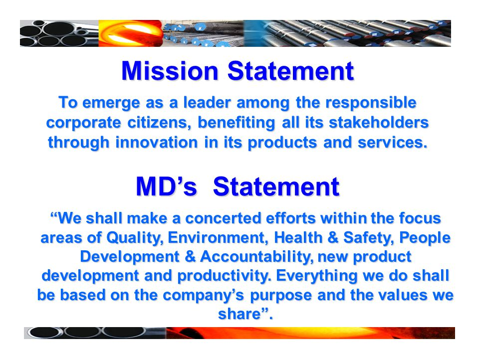 Mission Statement MD's Statement