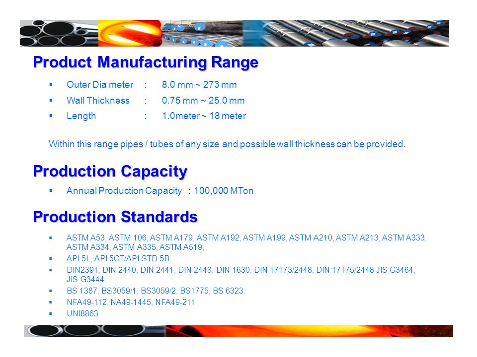 Product Manufacturing Range