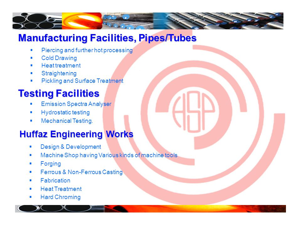 Manufacturing Facilities, Pipes/Tubes