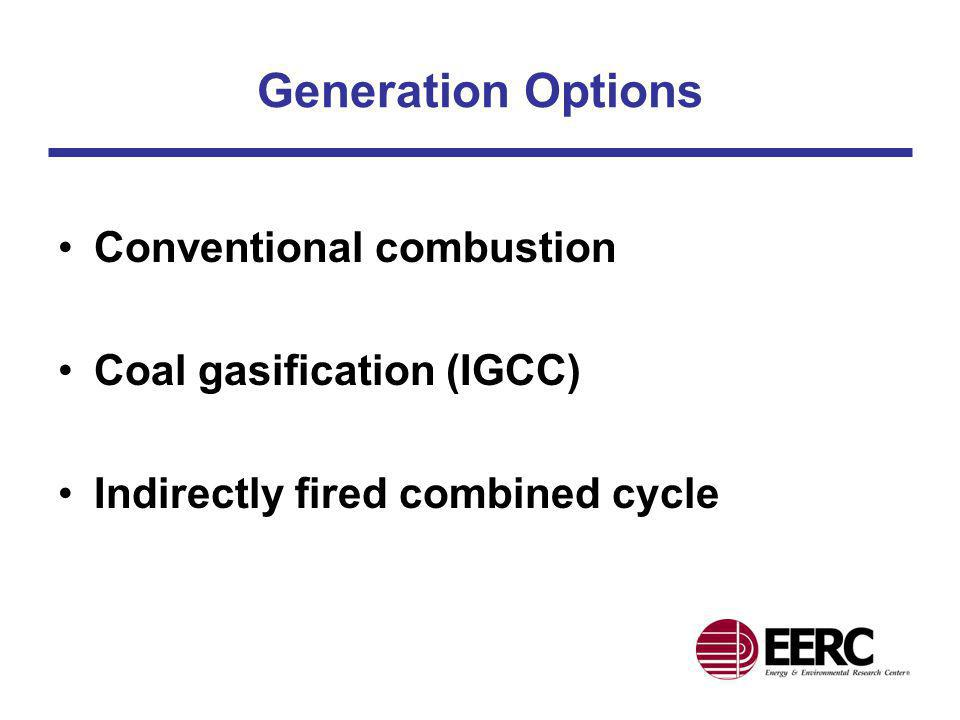 Generation Options Conventional combustion Coal gasification (IGCC)
