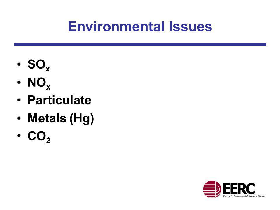 Environmental Issues SOx NOx Particulate Metals (Hg) CO2