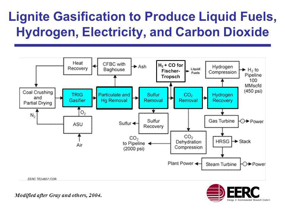 Lignite Gasification to Produce Liquid Fuels, Hydrogen, Electricity, and Carbon Dioxide